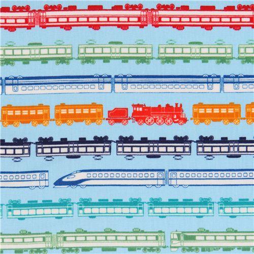 blauer Zug Eisenbahn Streifen Popeline Stoff für Jungs von Cosmo aus ...