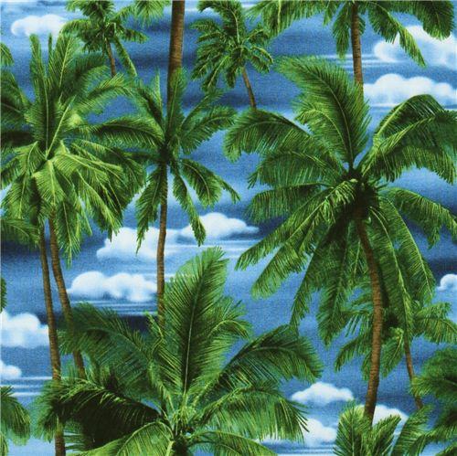 Blue Tropical Palm Trees Fabric Robert Kaufman Flower
