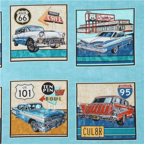 Blue Turquoise Fabric With Car Vehicle Transport Quilting Treasures