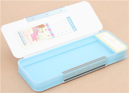 new product a2df0 ad559 blue white Sumikkogurashi shy animal music note pencil case San-X