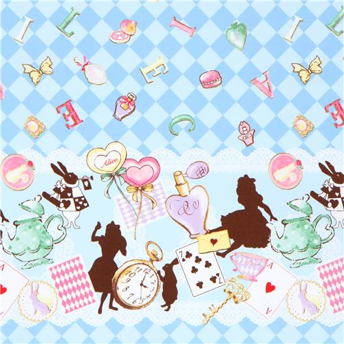 blue with double border alice in wonderland theme oxford fabric from