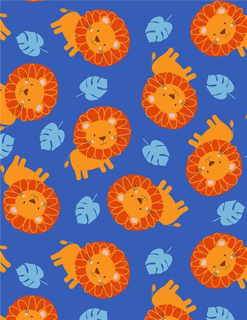 Tela azul con león animal de Timeless Treasures - Telas con animales ...