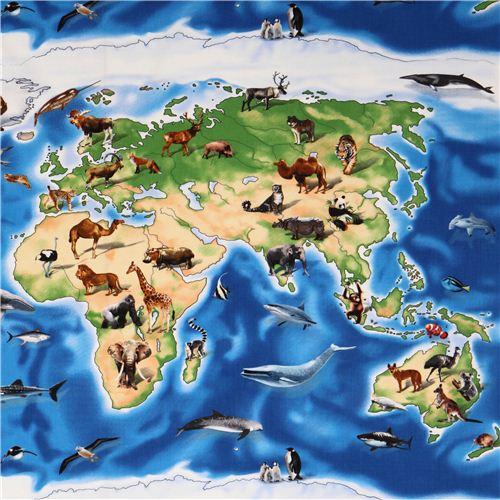 Blue world map animal panel fabric elizabeths studio usa animal blue world map animal panel fabric elizabeths studio usa 1 gumiabroncs Gallery