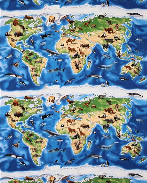 Blue world map animal panel fabric elizabeths studio usa animal blue world map animal panel fabric elizabeths studio usa 4 gumiabroncs Images