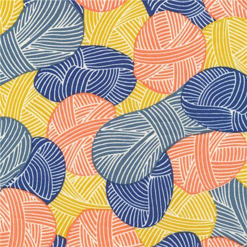 blue yellow orange yarn ball Cloud 9 organic cotton fabric Wound Up ...