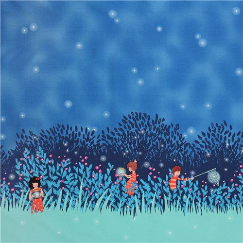 doppelrand stoff summer night lights twilight michael miller - kinderstoffe - stoffe