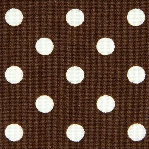 brown michael miller fabric with white polka dots dots stripes