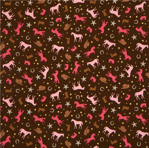 Brown riley blake cowboy fabric with horse horseshoe for Horse fabric for kids