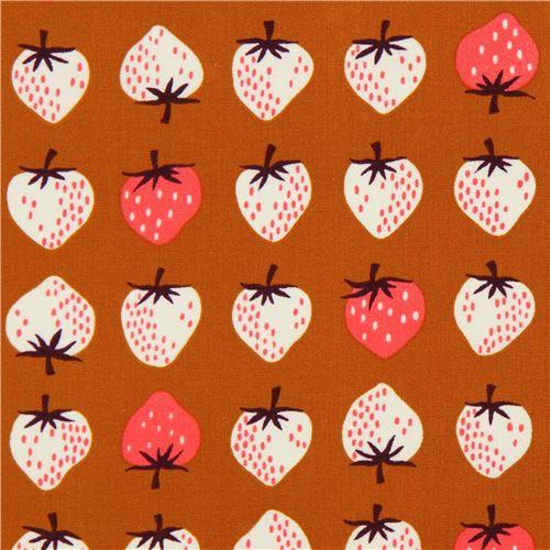 brauner stoff mit erdbeeren von cotton steel essen stoffe stoffe kawaii shop modes4u. Black Bedroom Furniture Sets. Home Design Ideas