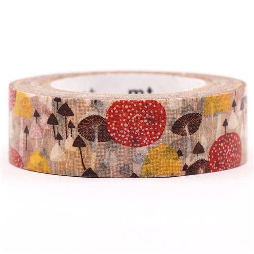 brown mushroom mt washi tape deco tape flower tapes decorative tapes stationery kawaii. Black Bedroom Furniture Sets. Home Design Ideas