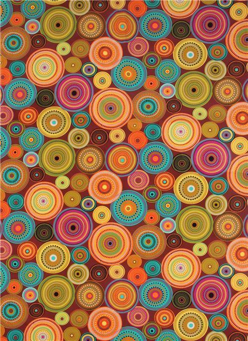Brown Pattern Circle Fabric Northern Lights Michael Miller
