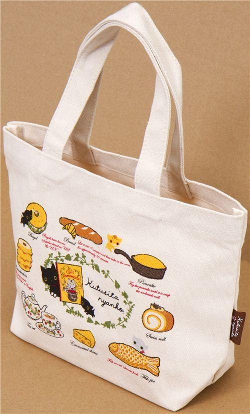 Bolso de tela kutusita nyanko con dibujo de comida - Telas para hacer bolsos ...