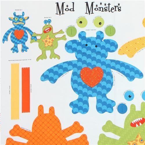 Stoff mit Nähmuster für buntes Monsterkissen von Quilting Treasures ...