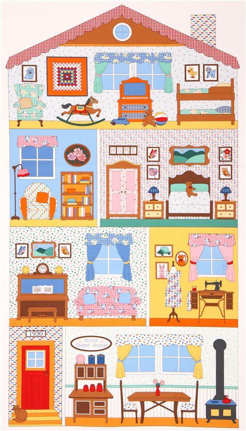 Tela Panel Habitación Casa Muñeca Colores Pennys Dollhouse De