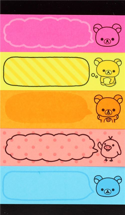 Colorful rilakkuma index stickers bookmark sticker with blue yellow pink 2