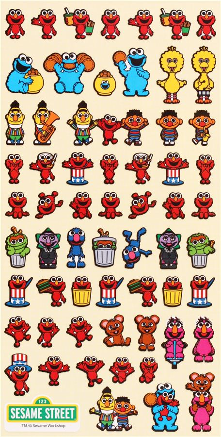 Colorful Sesame Street Characters Stickers From Japan