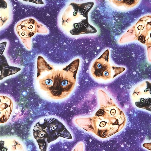 colorful galaxy with cat face fabric Timeless Treasures ...