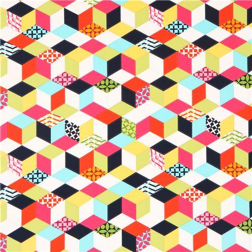 colorful pattern cube geometric shape fabric michael miller dots stripes checker fabric. Black Bedroom Furniture Sets. Home Design Ideas