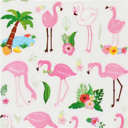 Flamingo kawaii. Colorful stickers of flamingos