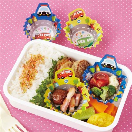 colorful vehicles bento lunch box paper cups