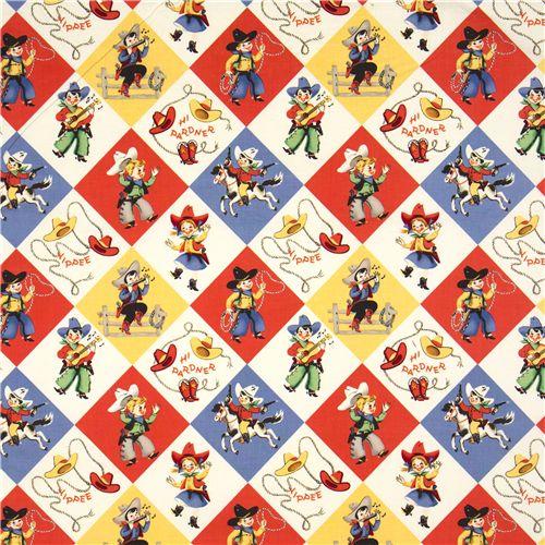 Colourful michael miller retro fabric cowboys western for Retro fabric