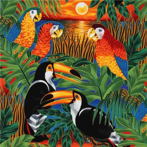 colourful tropical birds fabric parrot Robert Kaufman ...