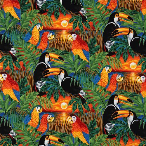 tissu oiseaux tropicaux color perroquet robert kaufman. Black Bedroom Furniture Sets. Home Design Ideas