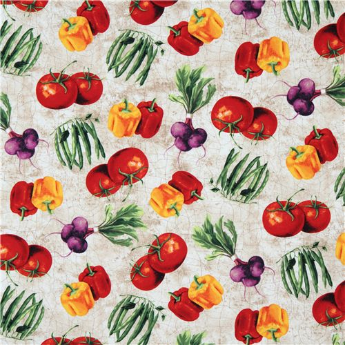 colourful vegetables kitchen fabric by Robert Kaufman, Food Fabric ...