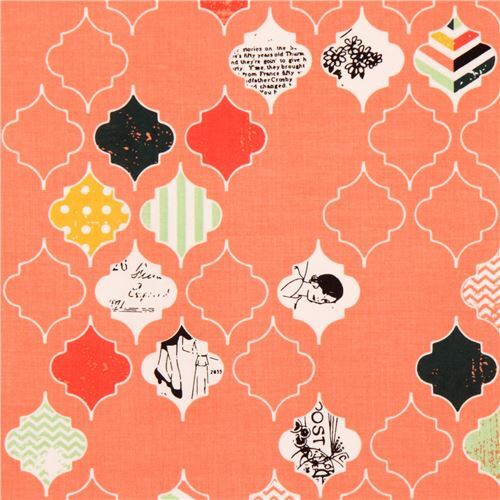 Coral Pattern Fabric coral riley blake ornament shape pattern fabric, ornament fabric