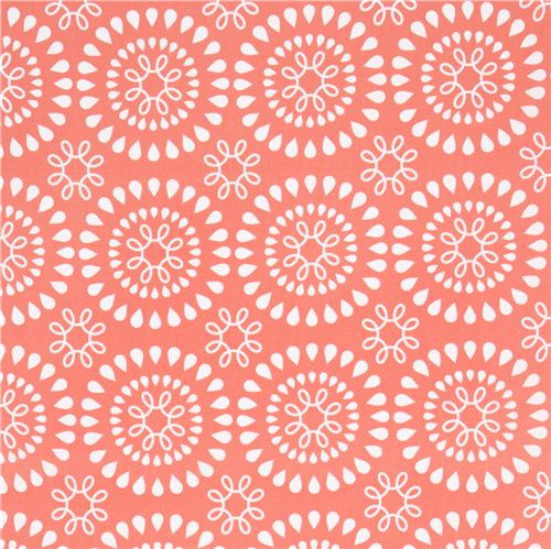 Coral orange fabric white tear drop flower by michael miller usa coral orange fabric white tear drop flower by michael miller usa 2 mightylinksfo