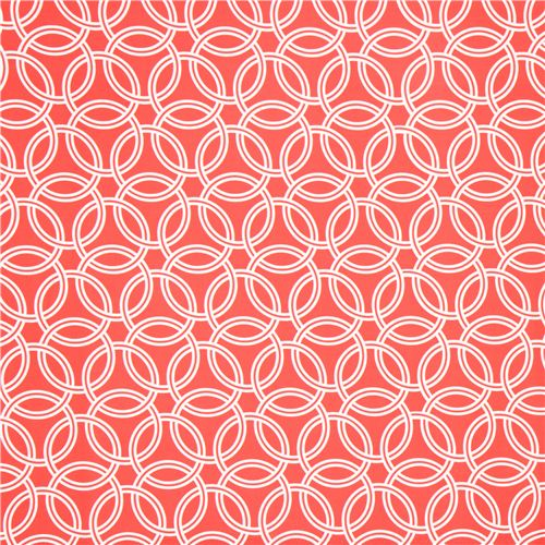 Coral Red Ring Pattern Cotton Sateen Fabric Michael Miller