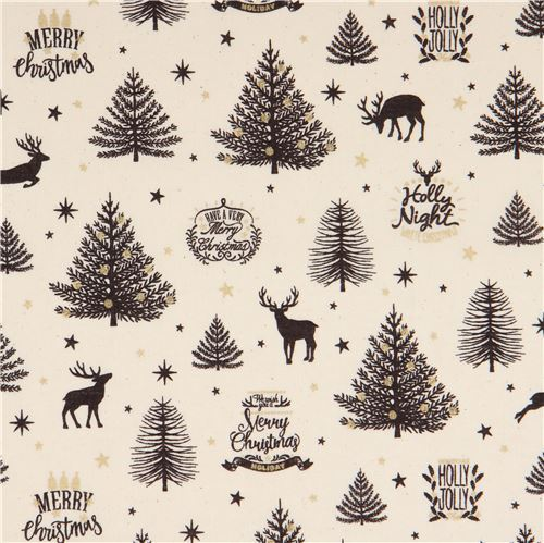 Christmas Tree Pattern.Cream Christmas Tree And Reindeer Metallic Gold Laminate Fabric By Cosmo