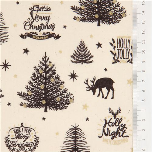 2 Christmas Tree.Cream Christmas Tree And Reindeer Metallic Gold Laminate Fabric By Cosmo