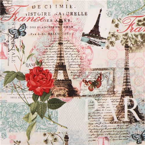 Friperie Bijoux Vintage Paris : Cream eiffel tower postcard rose fabric paris spring lula