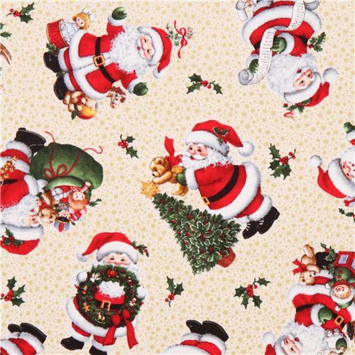 Cremefarbener Weihnachtsmann Glitzer Stoff Elizabeth 39 S
