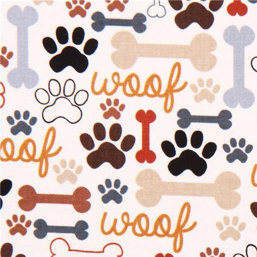 Cream Timeless Treasures Dog Bone Fabric Brown Animal