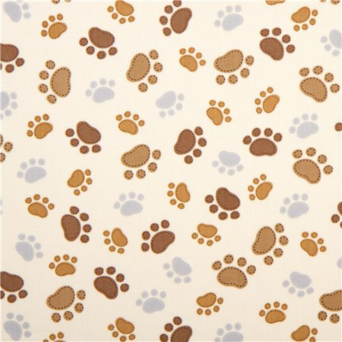 cream Timeless Treasures fabric with funny paw prints ...