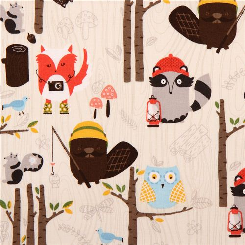 Timeless Treasures Cotton Fabric YARDS Raccoon Mouse Owl Bear on Black