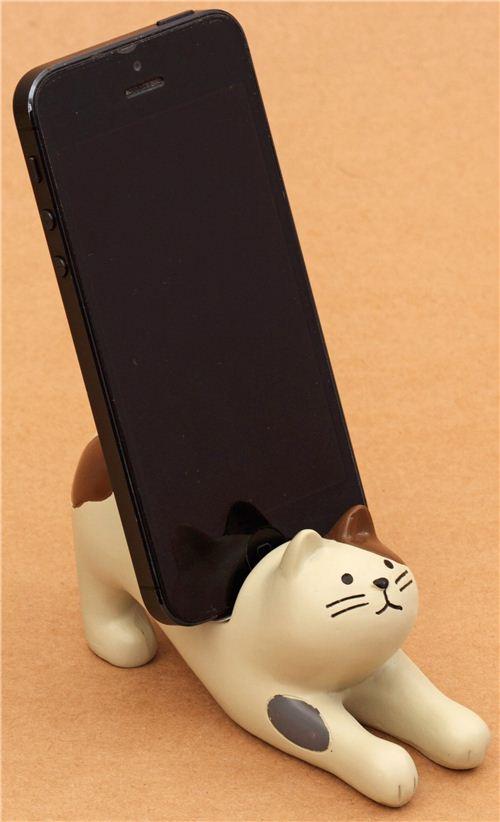 Cream Brown Cat Ceramic Cellphone Holder Decole Phone