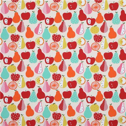 cream canvas fabric cute colorful fruit from japan food fabric fabric kawaii shop modes4u. Black Bedroom Furniture Sets. Home Design Ideas