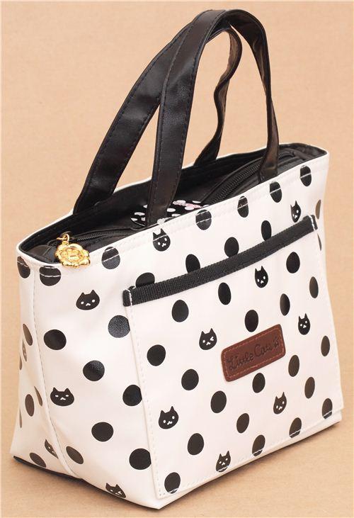 sac repas isotherme cr me avec des pois et des t tes de chats noirs sacs d jeuners sacs. Black Bedroom Furniture Sets. Home Design Ideas