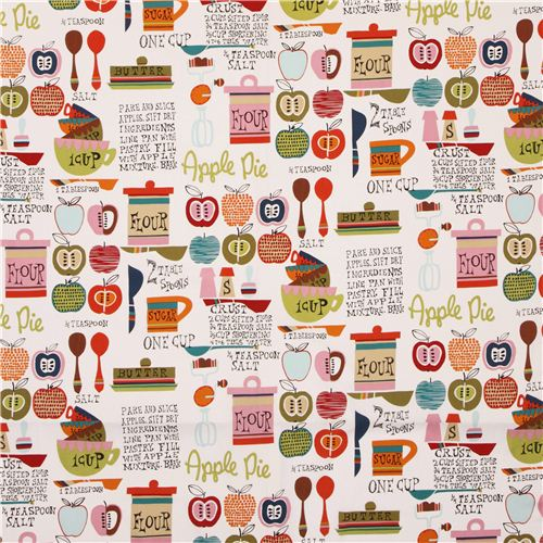 cream colorful kitchen fabric Oh My Apple Pie by Alexander Henry ...