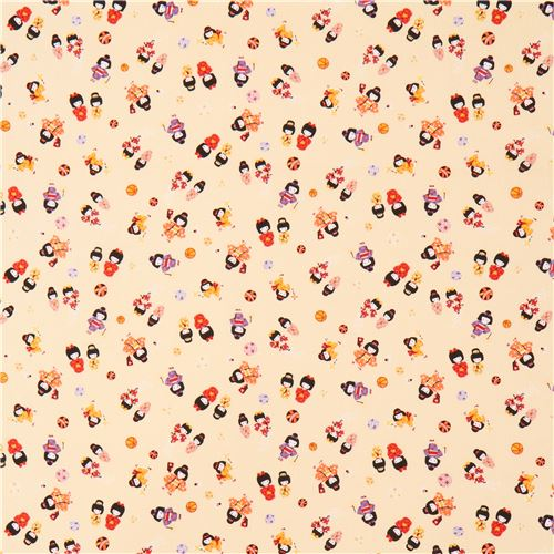 Cream cute small people colorful outfit fabric from japan for Cute childrens fabric