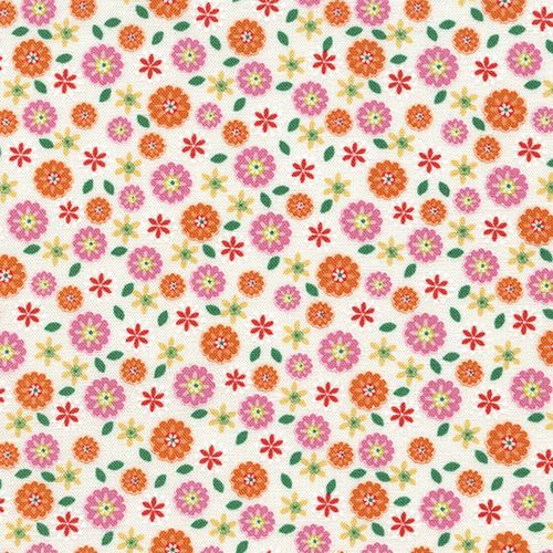 Cream Fabric With Pink Orange Flower By Timeless Treasures