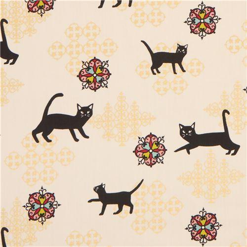 Tecido Creme De Ornamento E Gato Preto Com Detalhe Dourado Metálico Do Japão