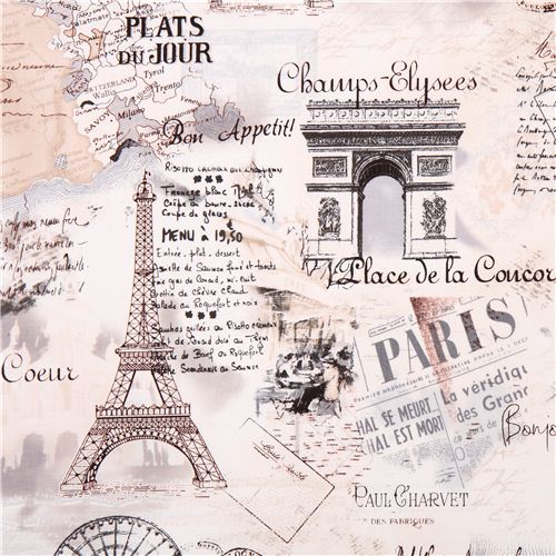Cream retro paris eiffel tower fabric by timeless for Retro shop paris