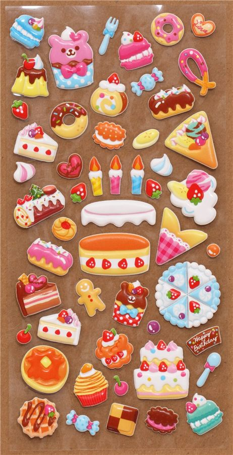 Cute 3d sponge sticker book set with pastry 2