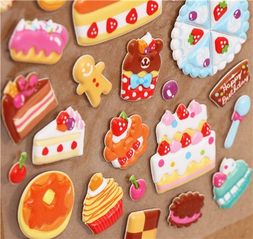 Cute 3d sponge sticker book set with pastry 3