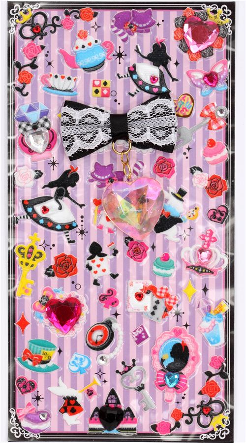 Cute 3d Stickers Alice In Wonderland Ribbon Jewel