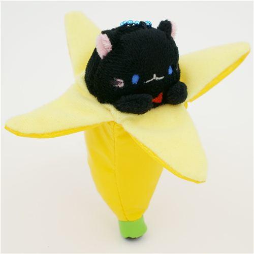 Cute Bananya Banana Cat Black Plush Charm From Japan Modes4u